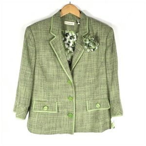 Amanda Smith Spring Green Tweed Suit Jacket NWT